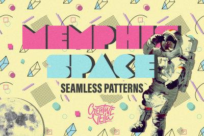 Memphis Space Seamless Patterns