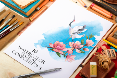 10 Watercolor Floral Compositions Set (PNG)