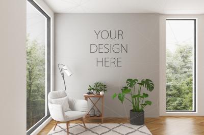 Interior mockup - blank wall scene