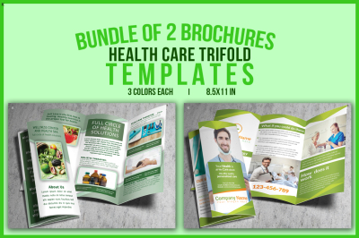 Bundle of 2 Health Care Trifold Templates