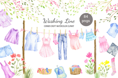 Watercolor washing line clipart, clothes line clipart