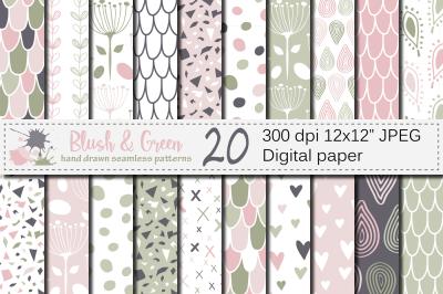 Blush Pink and Green Seamless Digital Paper / Hand drawn patterns