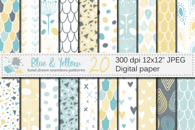 Blue and Yellow Seamless Digital Paper / Pastel Hand drawn patterns