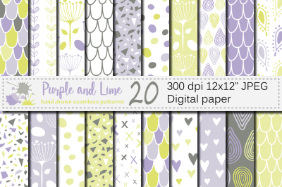 Purple and Lime Green Seamless Digital Paper / Hand drawn patterns