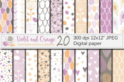 Violet and Orange Seamless Digital Paper / Pastel Hand drawn patterns