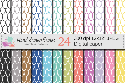 Hand drawn Scales Seamless Digital Paper / Rainbow Scales Pattern