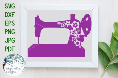 Floral Vintage Sewing Machine SVG/DXF/EPS/PNG/JPG/PDF