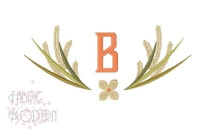 Wheat wreath embroidery monogram frame wedding design border wheat sta