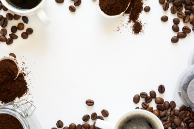 Background with assorted coffee: cups of espresso, coffee beans