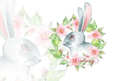 Bunny and wreath