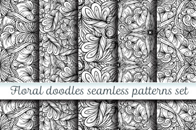 Floral doodles seamless patterns set