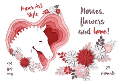 Horses, flowers & love – Vector Paper Art Style