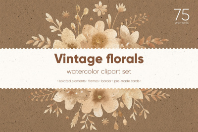 Vintage florals. Watercolor cliparts