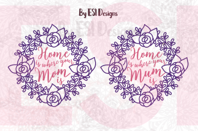 Home is Where Your Mom/Mum is | Quote Design | SVG, DXF, EPS and PNG