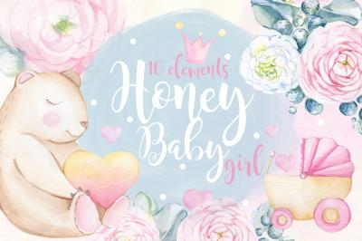Watercolor set Honey BABY GIRL