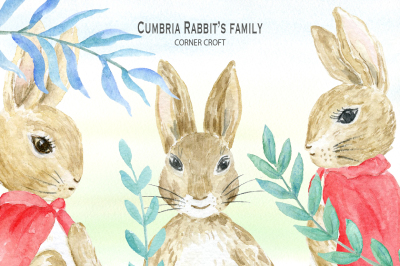 Cumbria Rabbit Family, watercolor illustration for personalised print