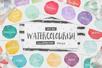 90 Watercolor Illustrator Styles + EXTRAS!
