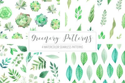 4 Watercolor Greenery Patterns
