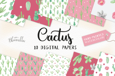 Cactus Floral Digital Papers Watercolor Cacti Seamless Patterns