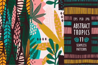 Abstract tropics. 11 seamless patterns