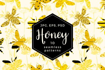 10 Honey seamless patterns.