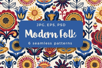 6 Folk seamless patterns