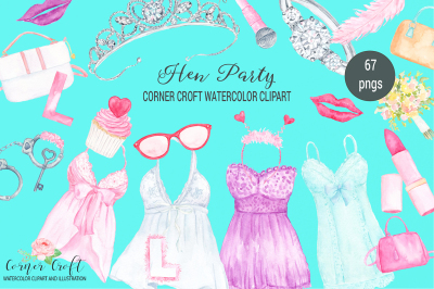 Watercolor Hen Party Clipart, Bridal Shower Clipart