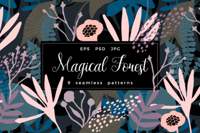 Magical Forest. 9 seamless patterns.