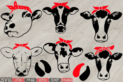 Cow Head whit Bandana Silhouette SVG cowboy cattle Farm Milk 779S