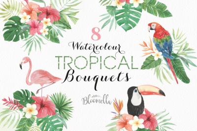 Tropical Floral Bouquets Flamingo Toucan Parrot Clipart Aloha