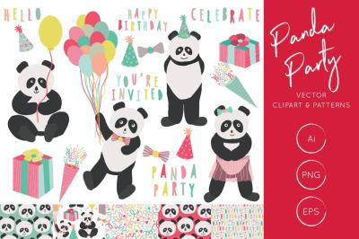 Panda Party Clipart and digital pattern set