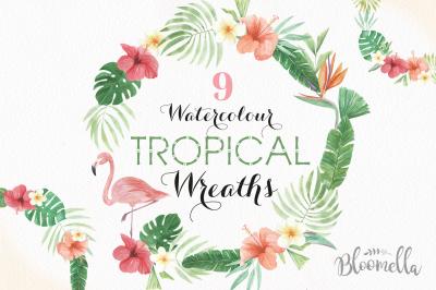 Watercolor Tropical Floral Flamingo Hibiscus Garlands Wreath Set