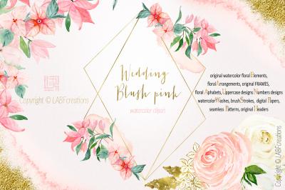 Blush Pink Wedding. Watercolour flowers. Big designer clipart designer