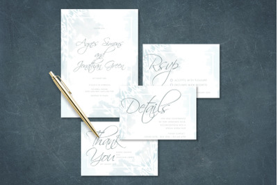 Simple and Luxurious Light Blue Watercolor Wedding Invitation