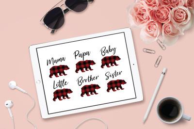 Plaid Bear Family, Mama Bear SVG, Papa Bear, Baby Bear, Cuttable File