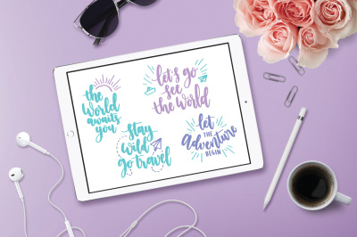Travel Quote Bundle, Travel SVG, Adventure SVG, Wanderlust SVG, DXF