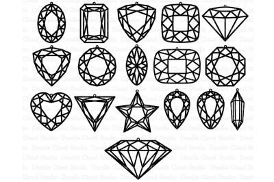 Gem Earring SVG, Diamond Earring SVG files.