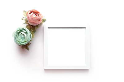 Beautiful Flowers on White Background. Mockup