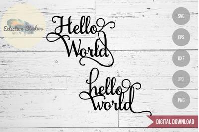 Hello World Cake Topper SVG