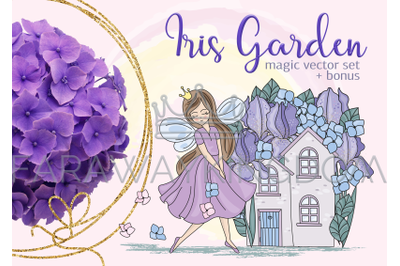 IRIS GARDEN Floral Cartoon Vector Illustration Set for Print