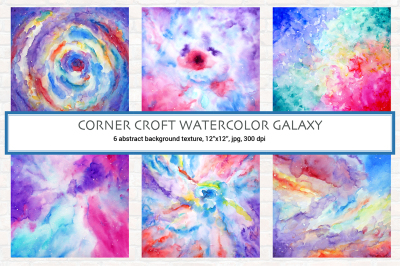 Watercolour landscape background Galaxy for instant download