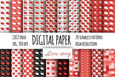 Hearts digital paper. Valentine's day seamless patterns