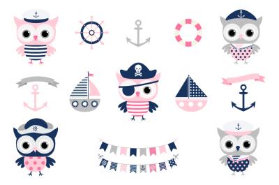Cute nautical owl clipart, Pirate owl clip art, Sailor owl clipart