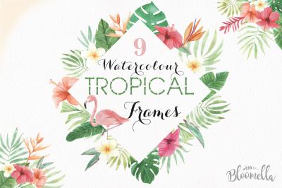 Tropical Watercolor Frames Flamingo Borders Exotic Palm Leaves Toucan