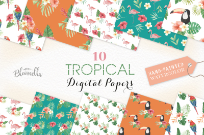 Watercolor Tropical Seamless Patterns Digital Papers Flamingo Palms