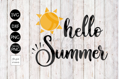 Hello Summer Beach SVG File, DXF File, PNG File