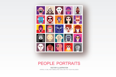 People Portraits vector pop-art collage