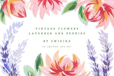 Lavender & Peonies, vintage flowers