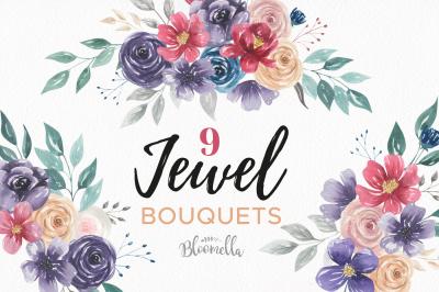 Jewel Bouquet Watercolor Florals Burgundy Navy Flowers Arrangements