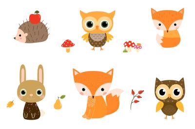 Cute Woodland Animal Clipart, Forest Creature Clipart Fox Hedgehog Owl